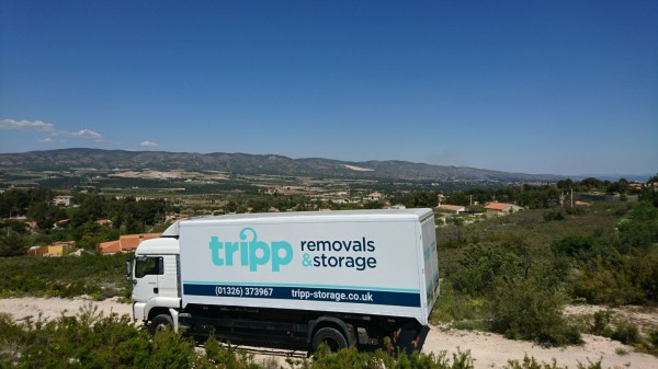 Tripp Removals truck in Spain