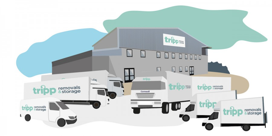 Frank Tripp removal xmas illustration Cornwall