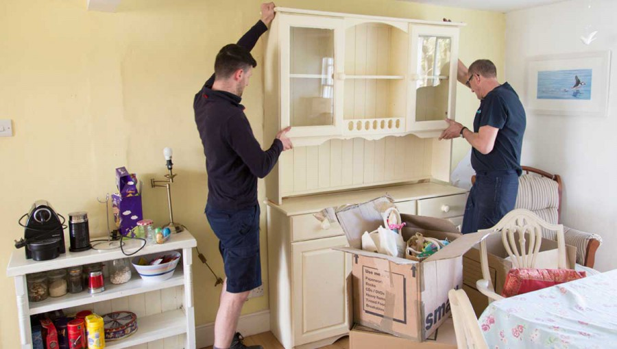 Tripp removals staff assemble kitchen dresser