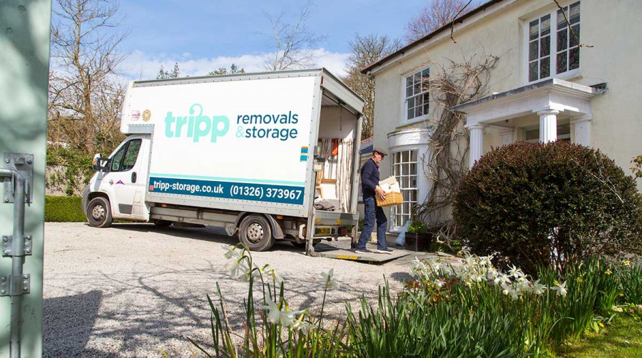Tripp removals van being unloaded