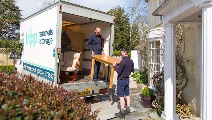 Tripp removals unloading van